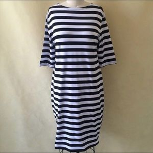 Black White Stripe Sheath Dress Casual 3/4 Sleeve